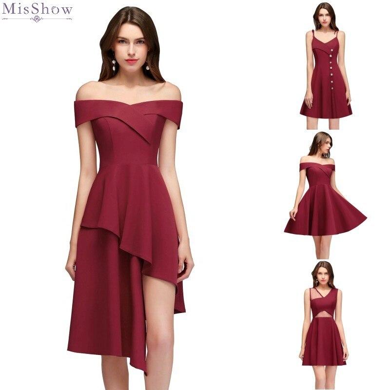 Burgundy robe   Cocktail     Dresses   2019 Short   Cocktail   Party   Dress   Off The Shoulder Sleeveless Formal   Dress   Elegant Coctail vestidos