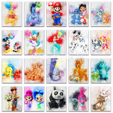 5D Diamond painting Cartoon Mickey mouse Winnie Pooh dog animal Full Square embroidery Cross stitch Round mosaic