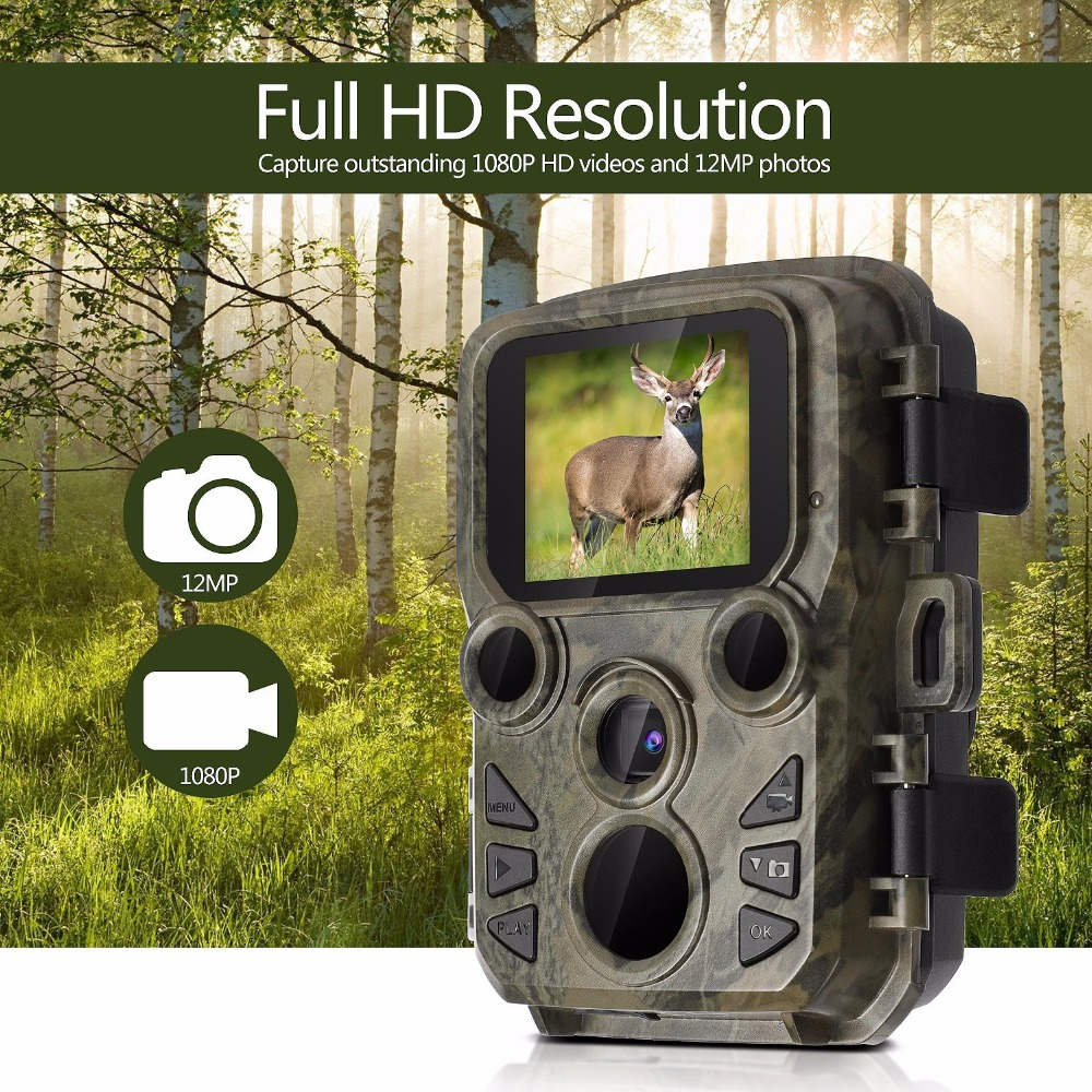 Mini Trail Camera Hunting Game 12MP 1080P Outdoor Wildlife Scouting Camera with PIR Sensor 0.45s Fast Trigger IP66 Waterproof|Hunting Cameras| |  - title=