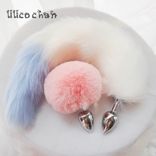 Mental Plush Ball Rabbit Tail Anal Plug Stainless Steel Prostate Massager Butt Plug BDSM Sex toys For Women/Couple Adult Game
