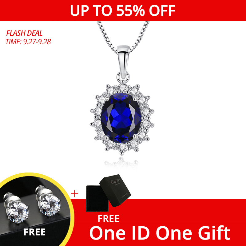 CZCITY Elegant Oval Princess Diana William Sapphire Pendant Necklace for Women 100% 925 Sterling Silver Charms Necklace Jewelry(China)