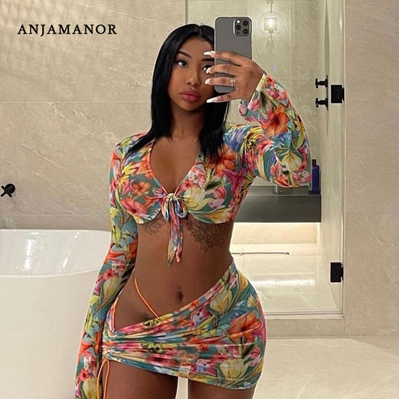 ANJAMANOR Floral Printed Mesh Sexy Top and Skirts Sets Summer Vacation Outfits 2021 Rave Party Club Wear Two Piece Set D85-CE11 1
