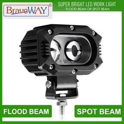 Luz de trabajo BraveWay faros LED luz Extra para coche motocicleta ATV camión asistida lámpara auxiliar conducción DRL 12V 24V antiniebla