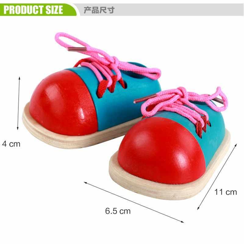 1pc crianças montessori brinquedos educativos crianças brinquedos de madeira da criança crianças lacing sapatos de aprendizagem precoce brinquedo montessori auxiliares ensino