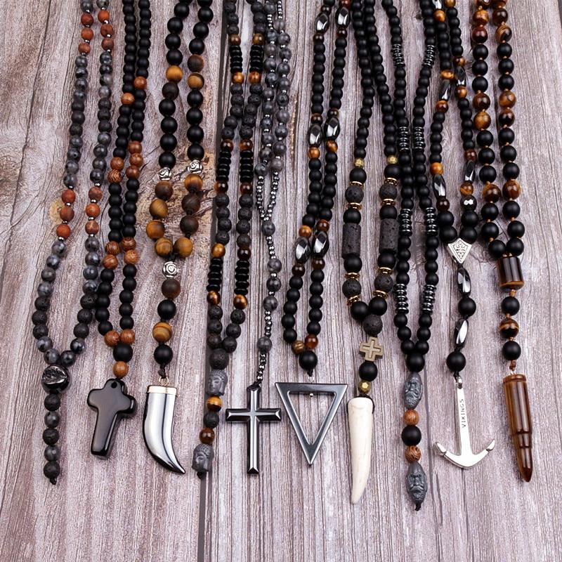 Gros mode pierre naturelle 10pc mélange couleur noir/gris collier à la main hommes bijoux