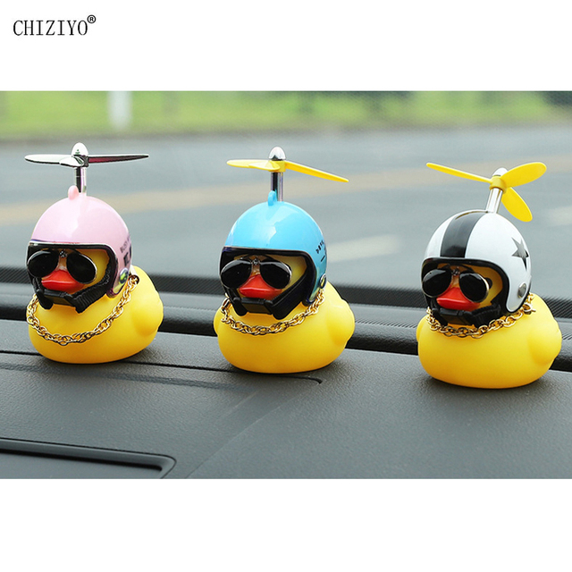 Cute Little Yellow Duck With Helmet Propeller Rubber Windbreaker Duck Squeeze Sound Internal Car Decoration Child Kid Toy