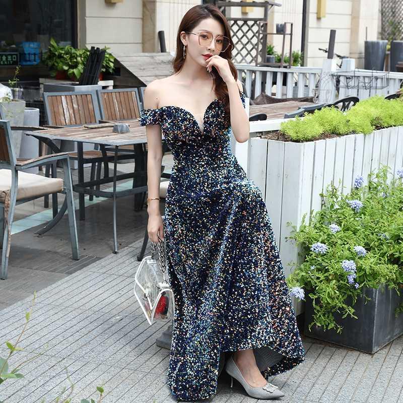 Seksi payetli balo kıyafetleri uzun moda kadın resmi parti elbise Vestidos De Gala 2020