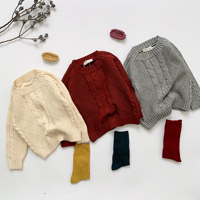 Winter Baby Kids Boys Girls Pullover Sweaters New 2021 Autumn Kids Boys Girls Long Sleeve Knit Hemp Flowers Sweater 2