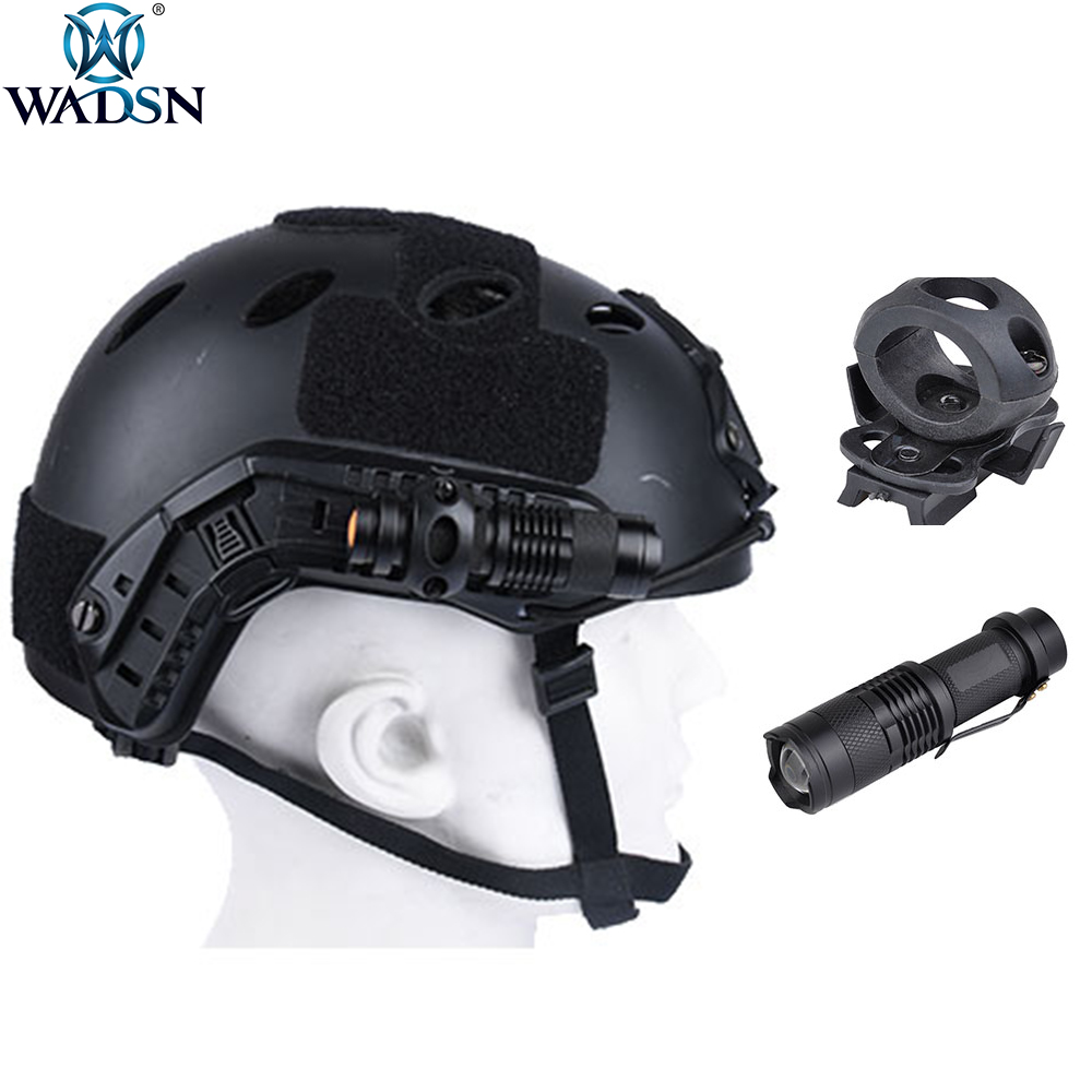 WADSN Aisrsoft  Mini Aluminum Zoom Flashlight Helmet Scout Strobe Light With Fast Helmet Rail Clip