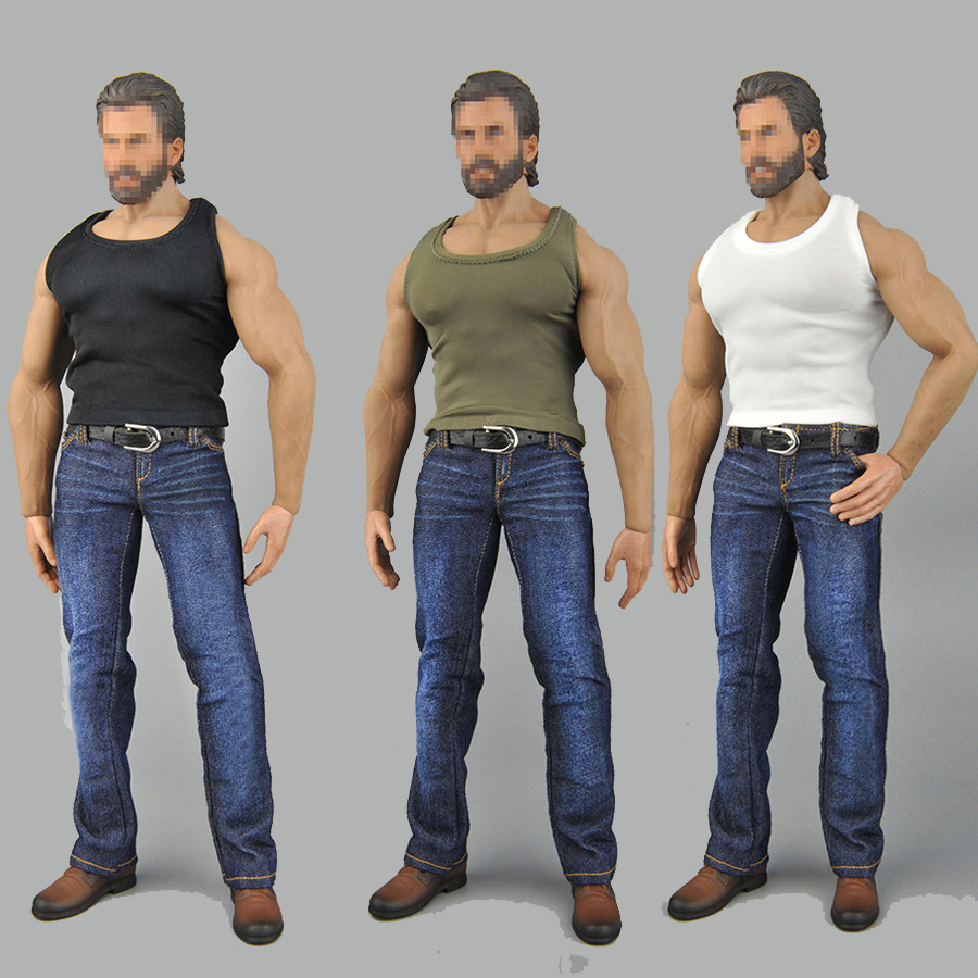 1/6 action figure sports vest jeans suit for 12-inch muscle strong action figure body