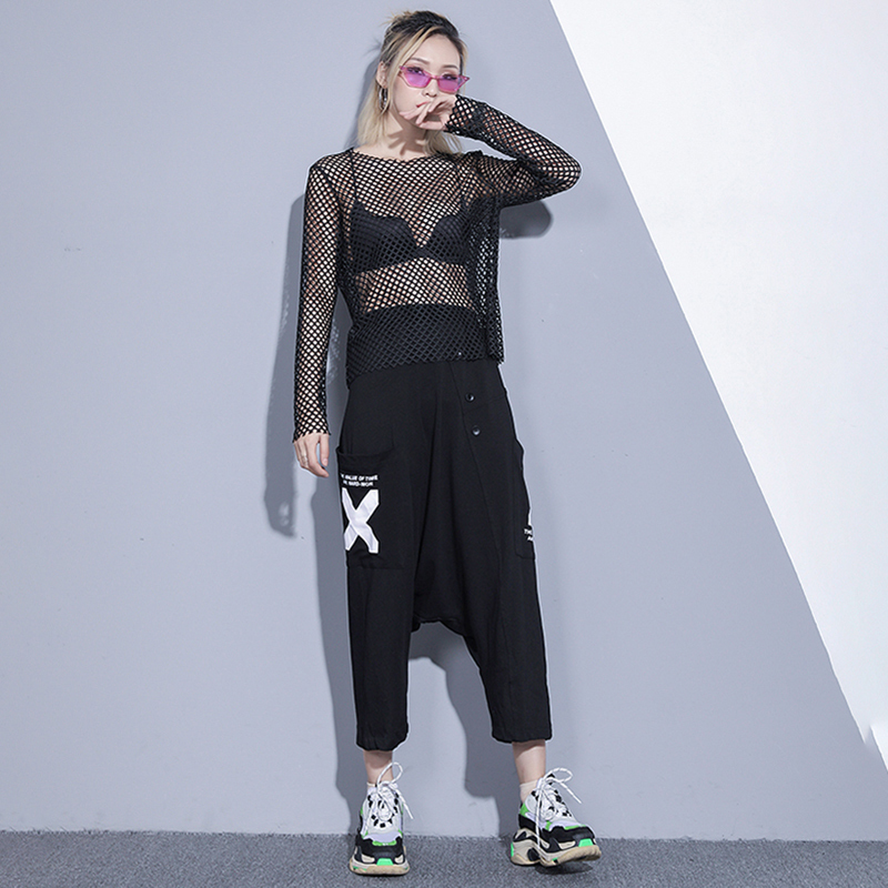 [EAM] Women Black Brief Mesh Perspective Big Size T-shirt New Round Neck Long Sleeve  Fashion Tide  Spring Autumn 2020 1DC348 3