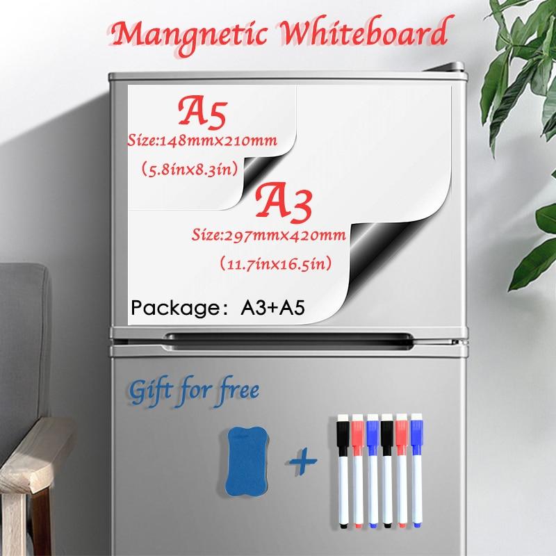 Soft Fridge Stickers Size A3+A5 Magnetic Whiteboard For Kids Dry Eraser White Board School Memo Boards Message Board Memo