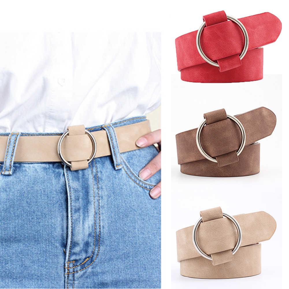 1 PC ผู้หญิงเข็มขัดหนังรอบสำหรับหญิงกางเกงยีนส์กางเกงอุปกรณ์เสริมโลหะหัวเข็มขัด Casual เข็มขัด