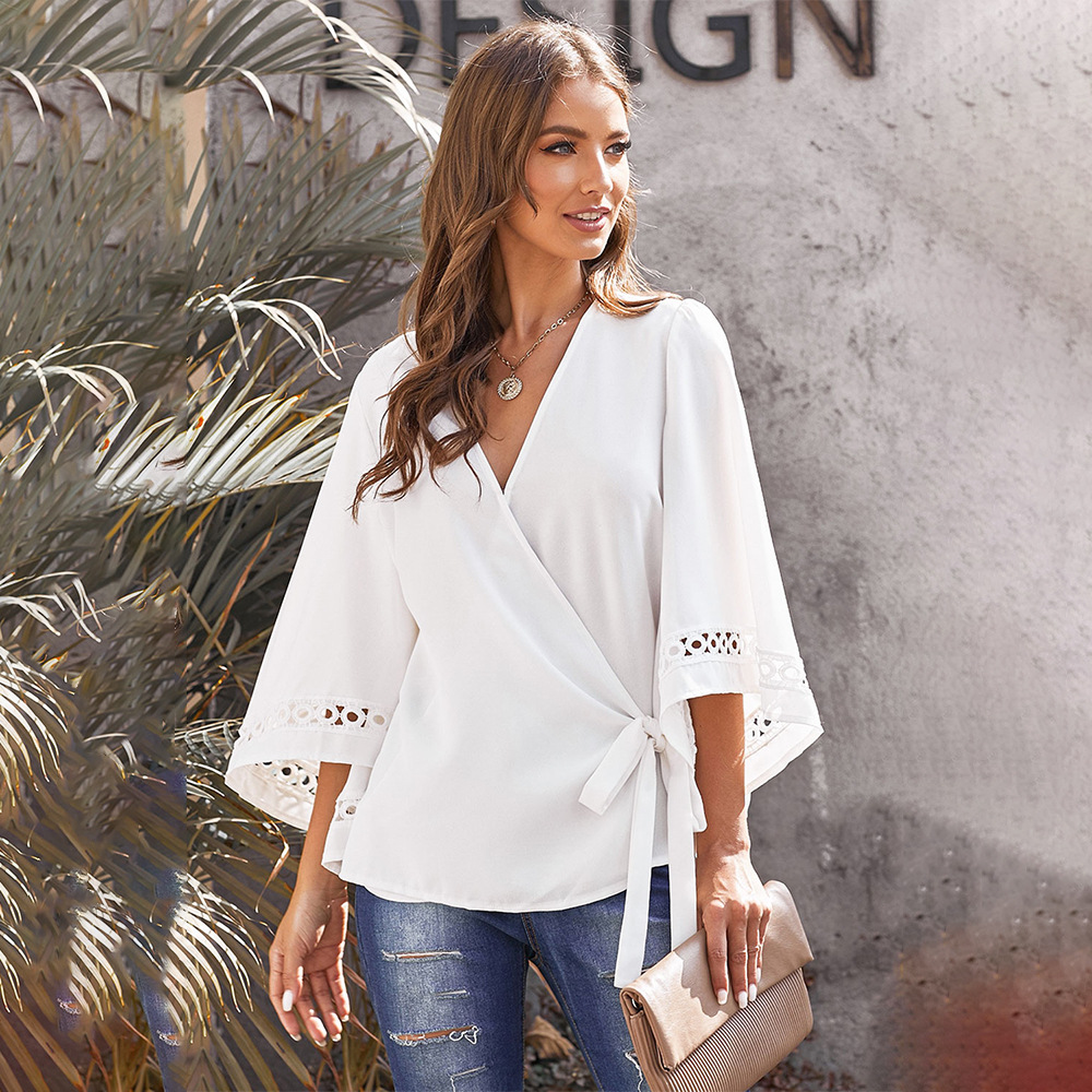 Sexy V-neck Women Tops And Blouses Bell Sleeve Lace-up Plus Size Tops Loose Fit White Shirts Front Cross Vintage Shirts