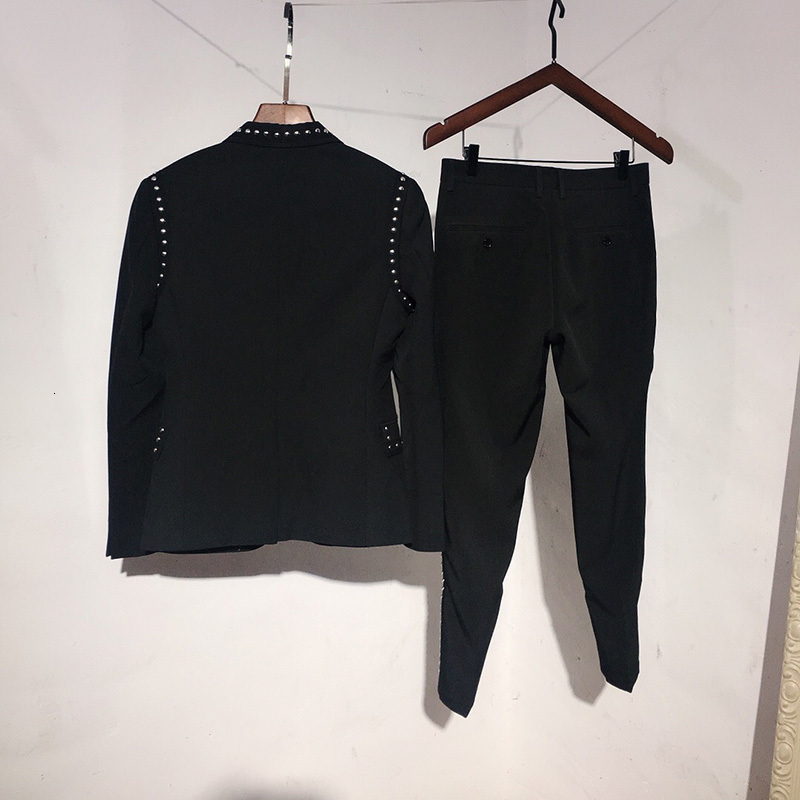 Brand Suit Jacket Set Men England Style Black Single Breasted Slim Blazer & Pants Two Piece Set Fashion Night Club Rivets Coat