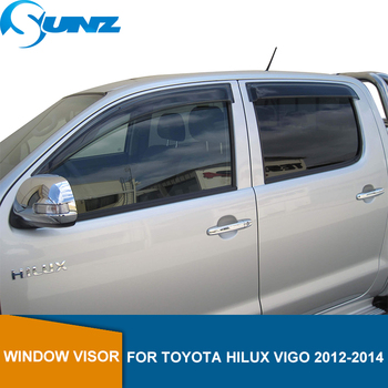 Wind Deflectors For Toyota Hilux Vigo 2012 2013 2014 Double Cab Black Window Visor Vent Shade Sun Rain Deflector Guards SUNZ