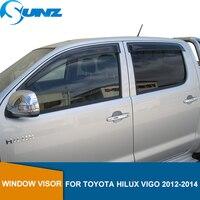 Wind Deflektoren Für Toyota Hilux Vigo 2012 2013 2014 Doppel Cab Schwarz Fenster Visor Vent Schatten Sonne Regen Deflektor Wachen SUNZ