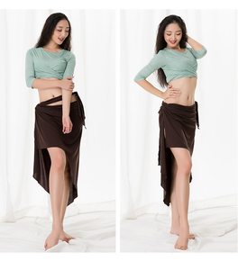 Image 4 - Big Size Women Oriental Dance Costume Modal 3 Piece Set Long Sleeve Dance Wear Blouse Side Slit Skirt With Under Pant White XL
