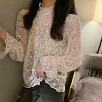 Online Celebrity Elegant Underwear Transparent Thin Lace Shirt Women's CHIC Korean style Autumn Clothing Sweet Crochet Stand Col