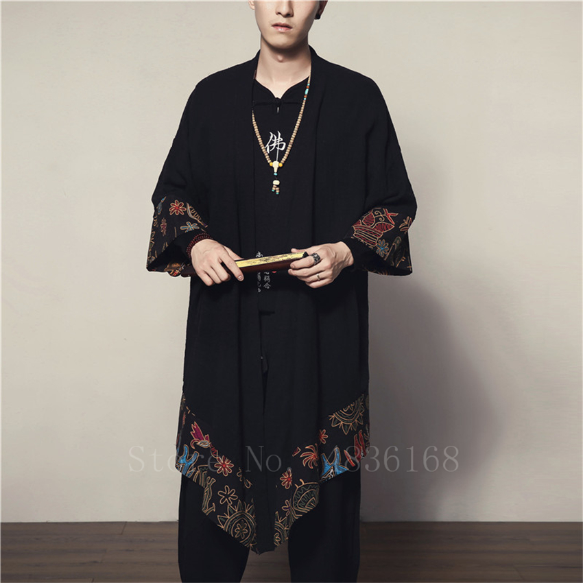 2019 Man Japanese Kimono Haori Harajuku Print Autumn Cardigan Coat Samurai Shirt Cotton Linen Chinese Style Long Jacket Gowns