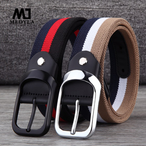 MEDYLA canvas belt men's pin buckle woven elastic elastic belt youth pants with personality belt black buckle breathable belt(China)
