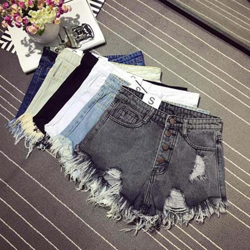 Denim Shorts Women Shorts Jeans Female Pockets Jean Shorts With Fringes Black Ladies Sexy Women Summer Denim Ripped Shorts Hot