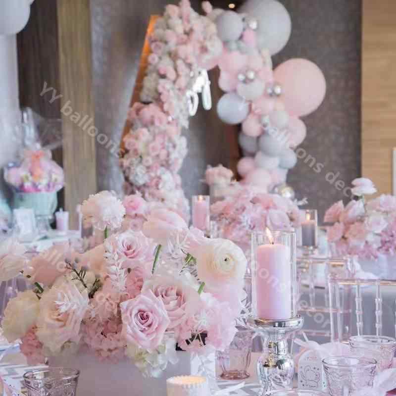 109 pçs balões beaumode diy rosa branco cinza balão guirlanda arco kit chuveiro do bebê chuveiros de noiva casamento pano de fundo local
