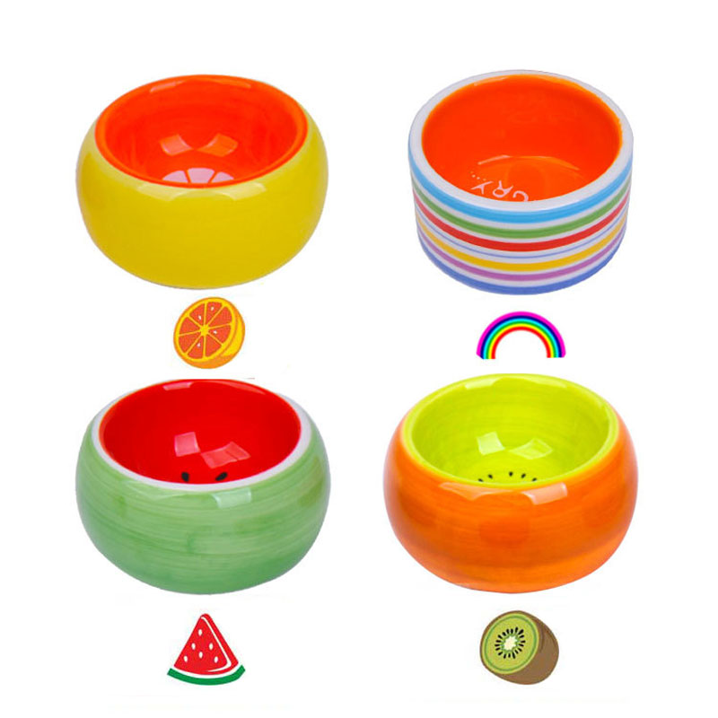 Small Pet Ceramic Bowl Fruit Color Bowl Small Pet Hamster Rat Chinchilla Rabbit Food Bowl Pet Water Bowl Pet Feeding Supplies