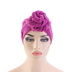 Image 4 - Gorro para quimio con nudo para mujer, gorro para la caída del pelo, Hijab musulmán, sombreros de turbante largo, pañuelo para la cabeza, bufanda árabe islámica, nudo de Color sólido 180*70cm