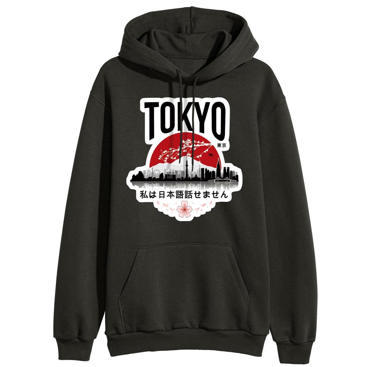 Hoodies For Women Winter Fleece Outerwear Sweatshirts Hooded Tokyo I Don't Speak Japanese Hoodie Pullover Femme Tracksuits Black