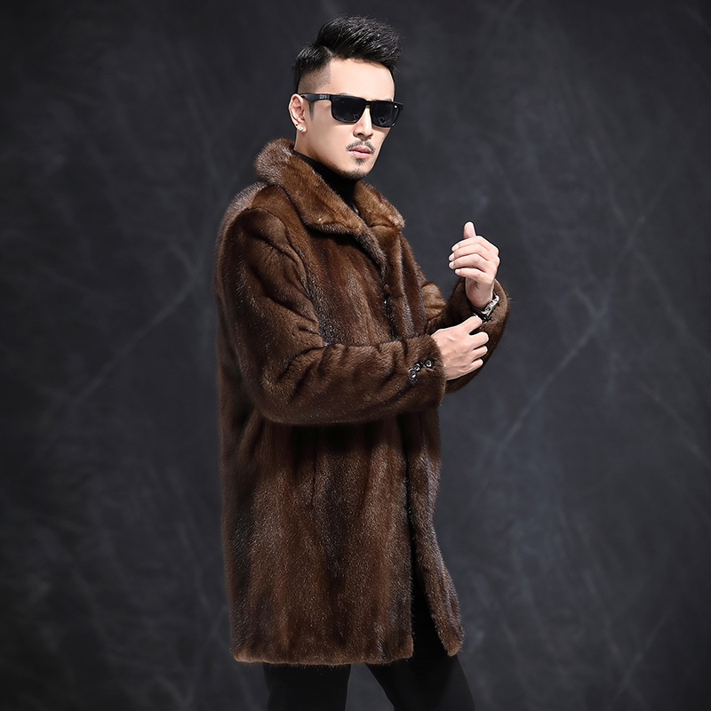 Men's Natural Mink Fur Jackets Winter Real Fur Coat Men Long Luxury Jacket Brown Mens Mink Coat 2020 3815 KJ2717