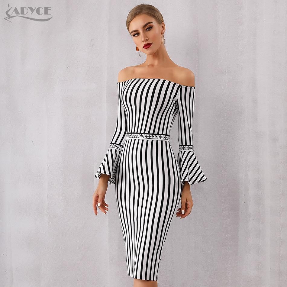Adyce 2020 New Spring Women White&Black Bandage Dress Sexy Flare Sleeve Club Dress Vestido Elegant Celebrity Evening Party Dress