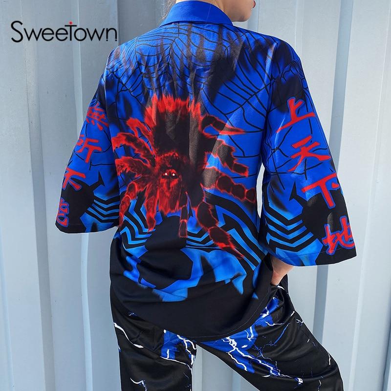 Sweetown 2020 Spring Lightning Print Plus Size Blouses Shirt Women Streetwear Turn Down Collar Ladies Blouses Manches Bouffantes