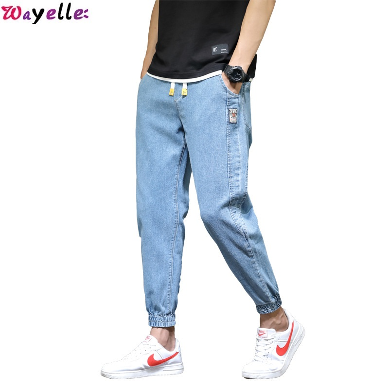 Autumn And Winter Jeans Men's Stretch Denim Fashion  Blue Jeans Slim Straight Hip Hop Frayed Denim Trousers  High Quality