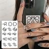 Waterproof Temporary Tattoo Sticker Body Makeup Flame Finger Tattoos Smiley Black Square Rose Flower Art Flash Fake Tattoos