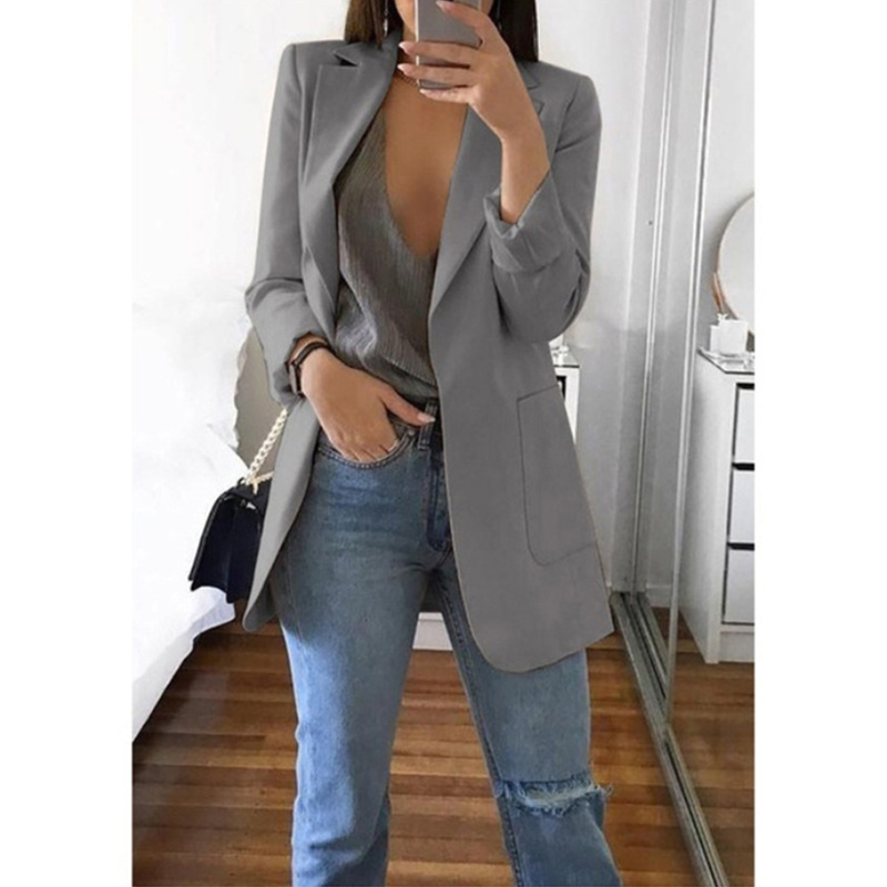 Autumn Jacket For Woman Casual Pockets Female Coat Office Ladies Turn-down Collar Slim Jackets Coats Female Plus Size 5XL