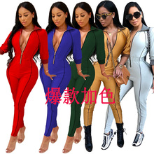 2019 Autumn And Winter Womens Solid Color Sexy Jumpsuit  Long Sleeve Rompers Club