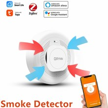 Tuya ZigBee Smoke Detector Sensor Fire Alarm Home Security System Firefighter Smoke Alarm Fire Protection Smart Life Smart Home