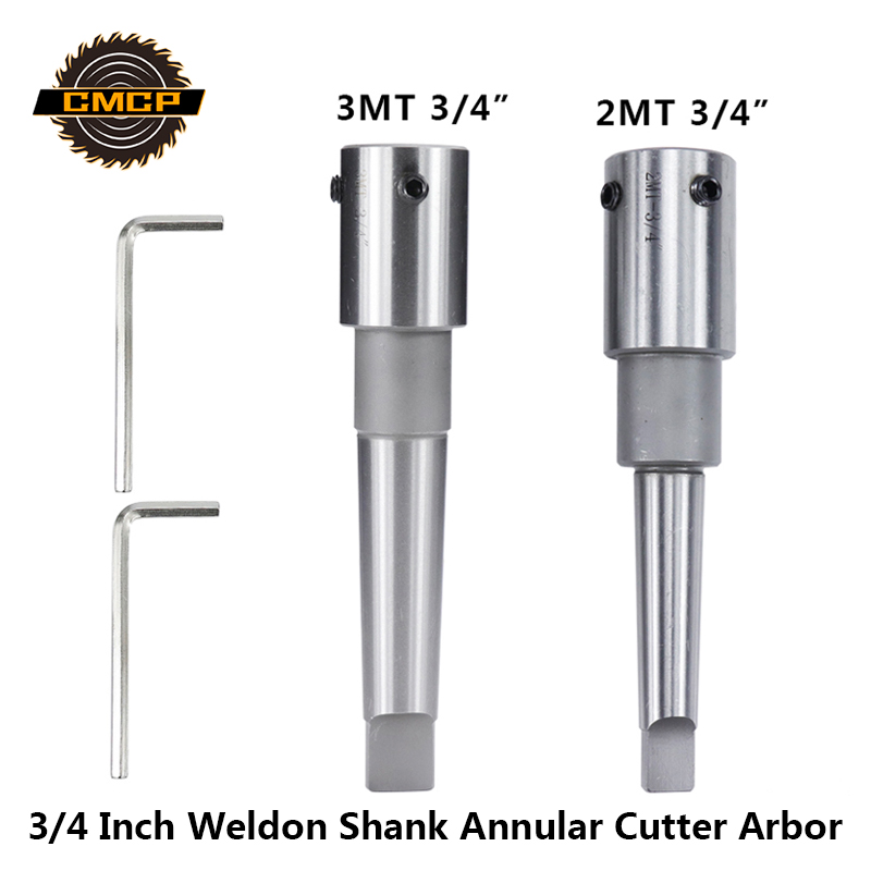 CMCP 3/4 Inch Weldon Shank HSS Annular Cutter Arbor MT2 MT3 Hollow Drill Bit Holder For Metal Working 1pc Morse Tapper Arbor