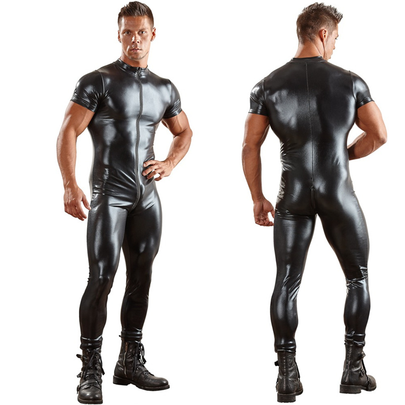 Sexy Male's PU Leather Catsuit For Men Tight Skin Full Bodysuit Jumpsuit Front Zipper Open Crotch Latex Zentai Suit Costume 3XL