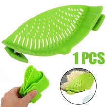 1pcs Green Silicone Pot Pan Bowl Funnel Strainer Kitchen Rice Washing Colander Accessories Cooking Tools
