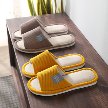 Spring Autumn Women Indoor Linen Slippers Floor Flat Shoes Anti-slip Home Flax Linen Men House Slides Bedroom Zapatillas Mujer