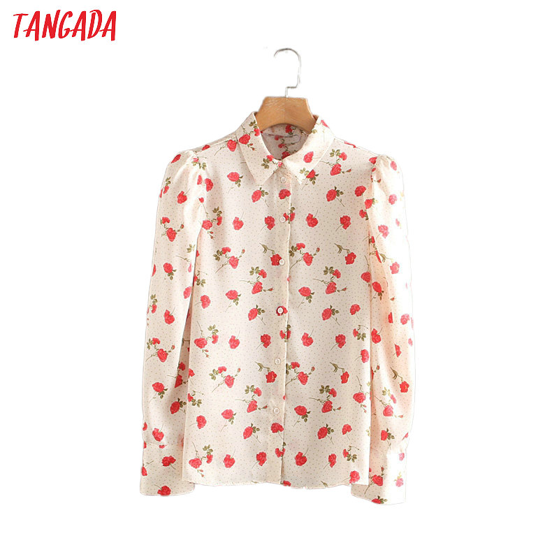 Tangada Women Retro Rose Print Blouse Puff Long Sleeve French Style Chic Female Casual Shirt Blusas Femininas 2W116