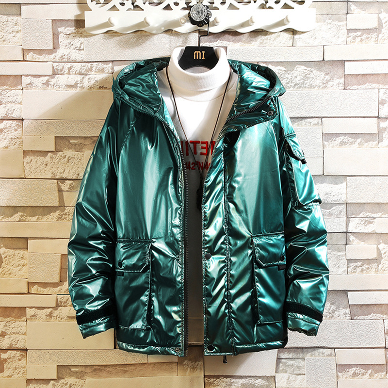 Glossy Equipment More Than Men Leisure Cotton-padded Clothes Pocket Youth Winter New Hooded Thickened  COAT