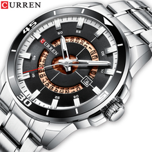 CURREN Luxury Brand Silver Stainless Steel Quartz Watch Simple Business Design Black Clasp Luminous Display