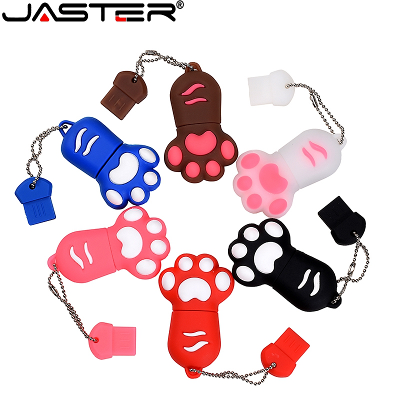 JASTER Adorable Cle USB Paw Print USB Flash Drive Mini Pen Drive 4GB 8GB 16GB 32GB Pendrive USB 2.0 For Gift Memoria USB Stick