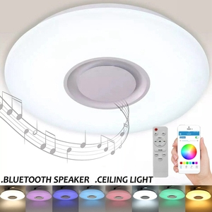 Image 2 - Altavoz inalámbrico LED con Bluetooth y Control remoto, lámpara de Panel de luz RGB de techo regulable para dormitorio
