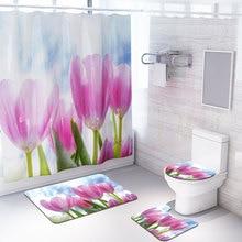 Beautiful Flower Fabric Shower Curtain Pink Tulip Bathroom Curtains Set Non-Slip Carpets Bath Curtains Mat with Hook Home Decor