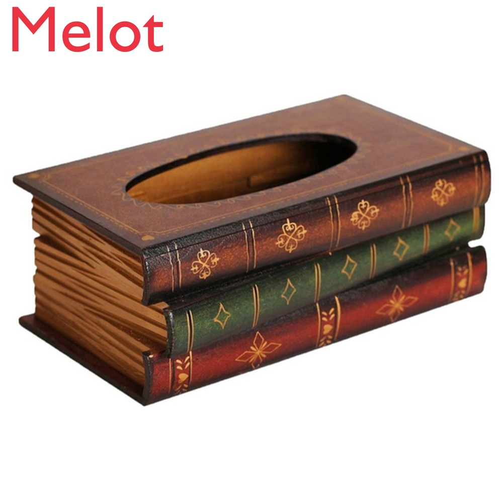 Retro European Style Book Tissue Box Luxurious Box Europe Retangle Napkin Paper Holder Ring Tissue Storage Box 2 Types