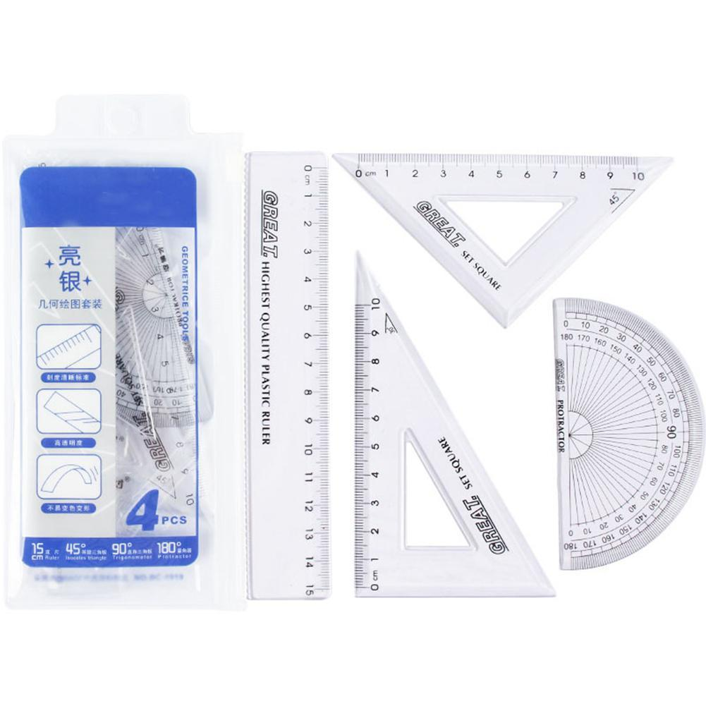 1 Set Ruler Of Student Ruler Four Piece Set 100% Brand The Plastic New Is Product For Students Suitable Material G3B7